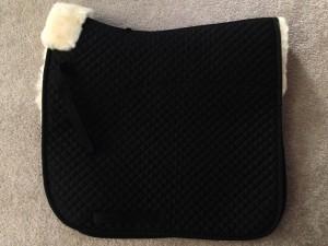 Dressage, black sheepskin saddle pad